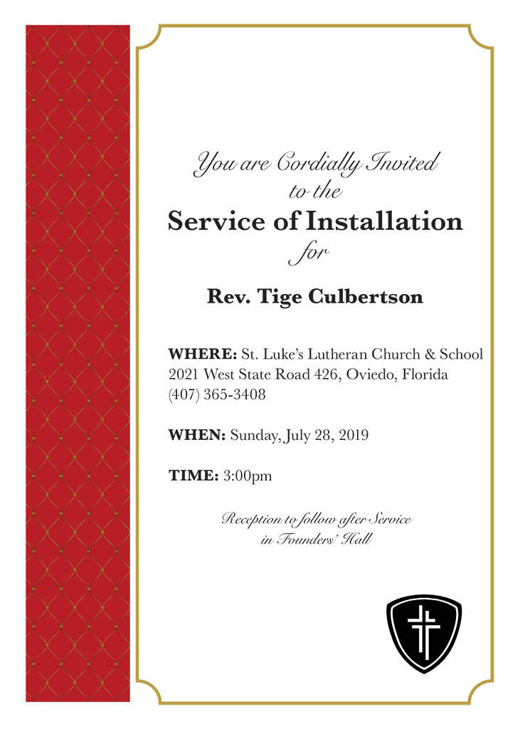 Installation of Rev. Tige Culbertson